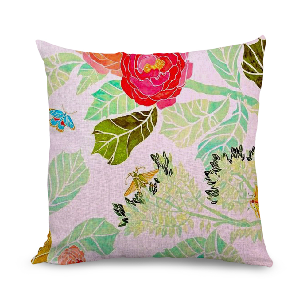 buy wholesale 18x18 inch butterfly and flower print throw pillow covers sofa. Black Bedroom Furniture Sets. Home Design Ideas