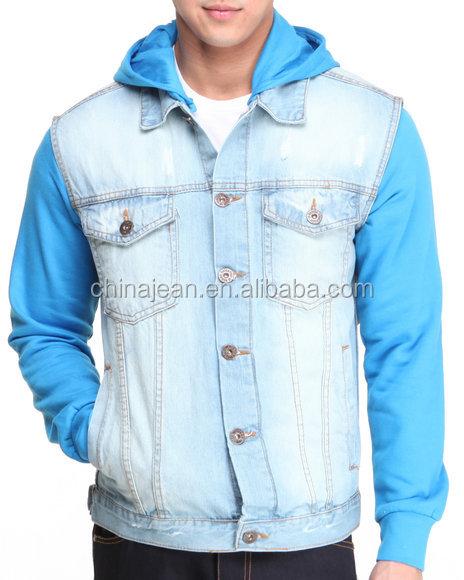 2015 Denim Hoody Ceketler Erkek Mavi Kot Kapüşonlu Ceket Jxw814