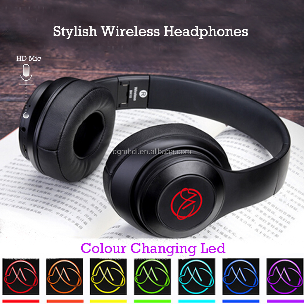 bluetooth led rgb light  audio mp3 speaker headband wireless earbuds /headphones /earphones /headset for Android IOS