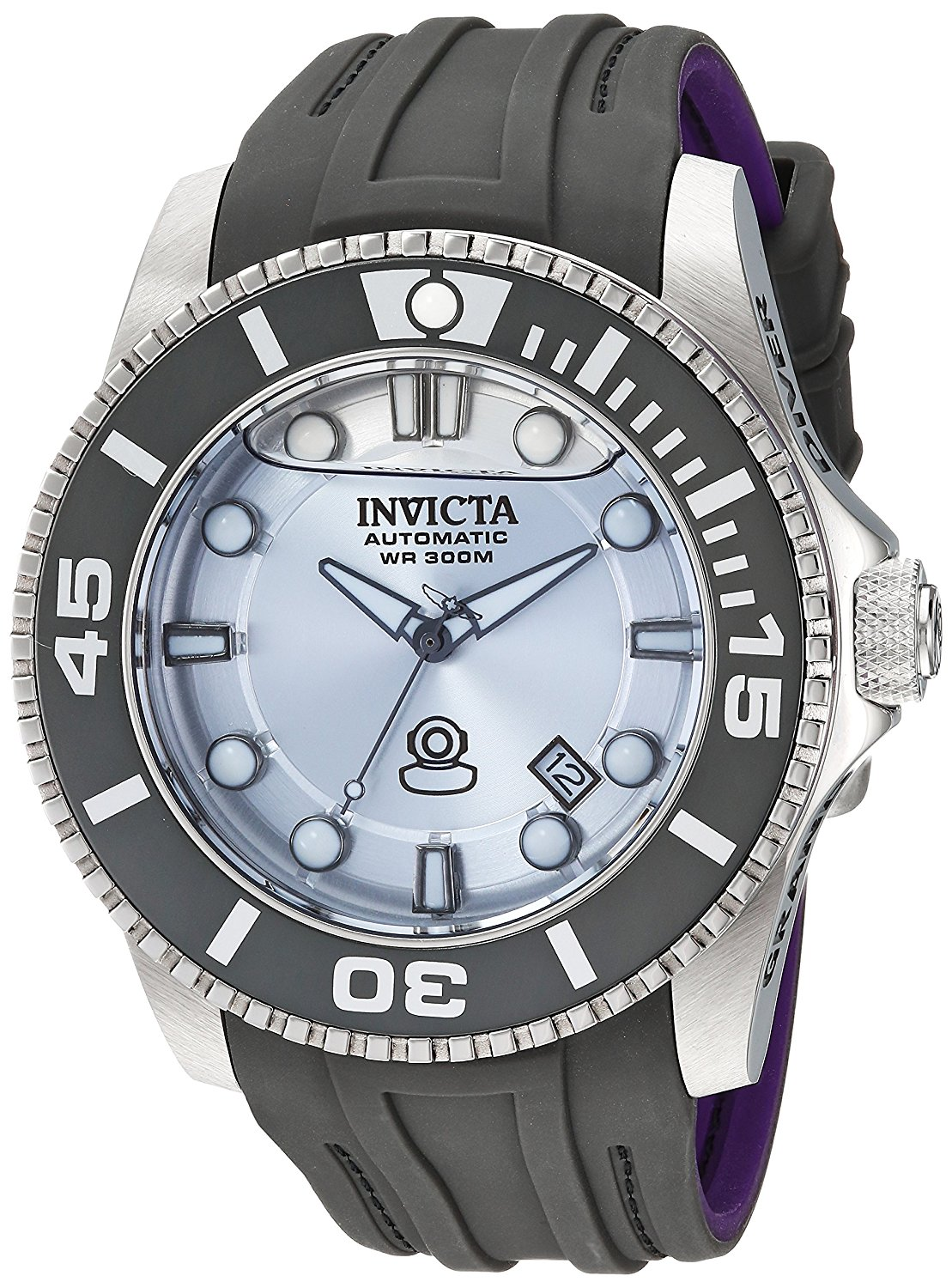 Invicta Men's 'Pro Diver' Automatic Stainless Steel and Silicone Diving Watch, Color:Grey (Model: 22991)