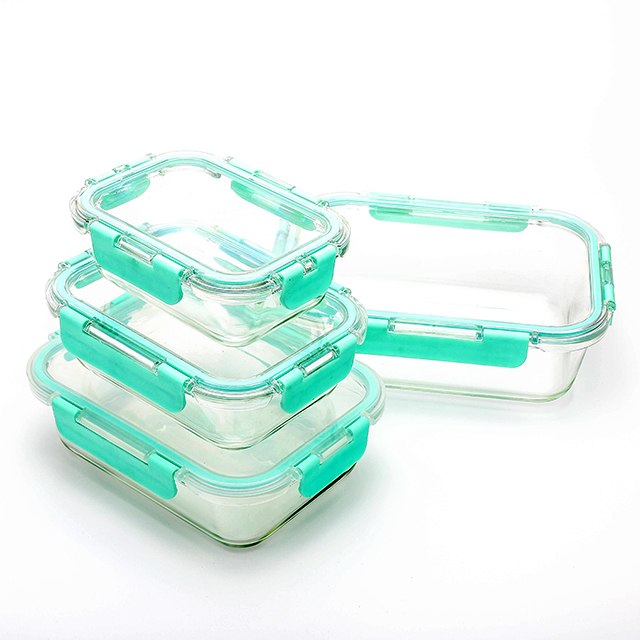 China top tien selling glas tiffin doos met air vent