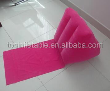 Inflatable flocked wedge beach cushion triangle backrest pillow