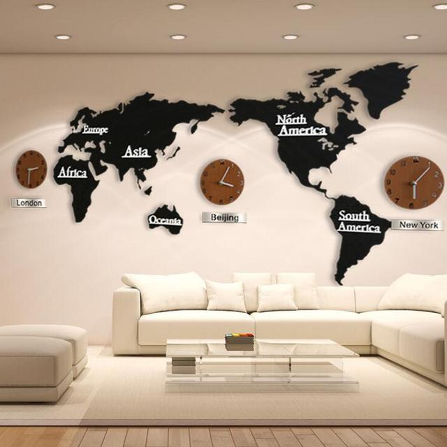 Buy cheap china world clock wall products find china world clock modern european style world map large wall clock creative 3d wooden wall clock wall mounted clock gumiabroncs Image collections