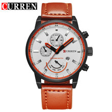 Часы CURREN Мужские, модные, повседневные, спортивные, кварцевые, с кожаным ремешком(Китай)