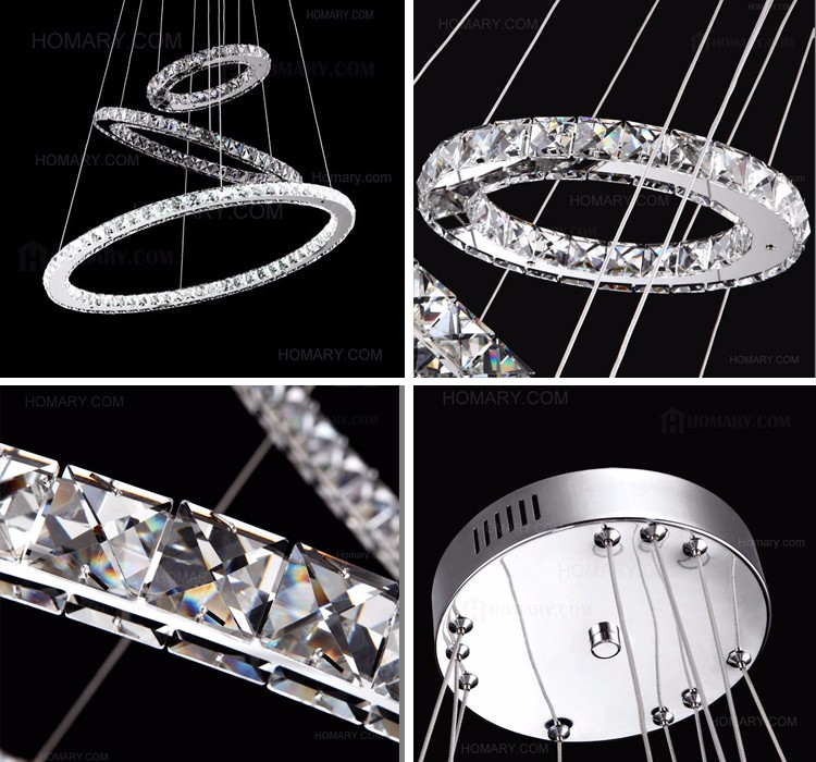 Led Swirl Six Ring Chandelier Pendant Light Contemporary: New Ceiling Fixture LED Pendant Light With 3 Crystal Rings