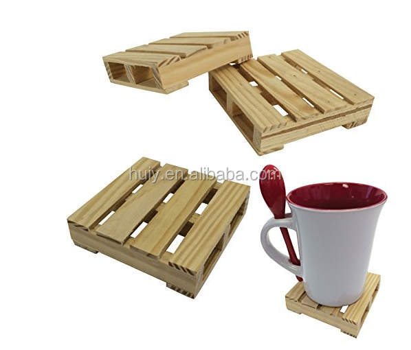 Set Mini Natural Wood bamboo Pallet Coaster Beverage cup coaster with logo
