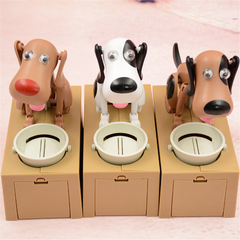 Custom Wholesale Fashion Eating Dog Money Coin Cans Saving Money Plastic Box Bank