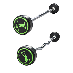 crossfitness gym 10kg to 30kg fixed rubber coated / pu weightlifting / weight lifting / powerlifting barbells barbell sets
