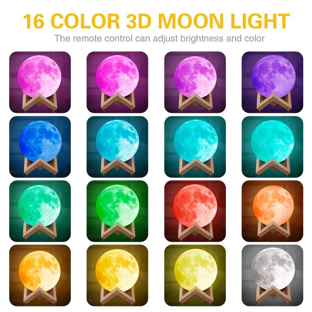 16 Colors RGB Luna Night Light Remote Control Rechargeable 3D Printing LED Moon Lamp