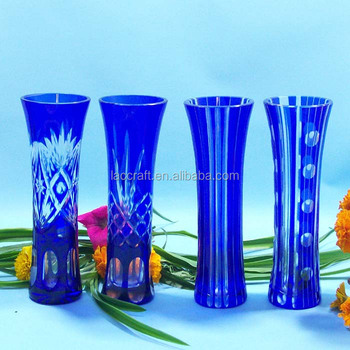China Factory Of Crystal Edo Kiriko Cut Glass Bud Vase Blue Buy