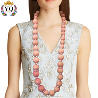 NYQ-00801 latest design statement fashion jewelry crystal setting can custom large chunky wood beads long beaded necklace
