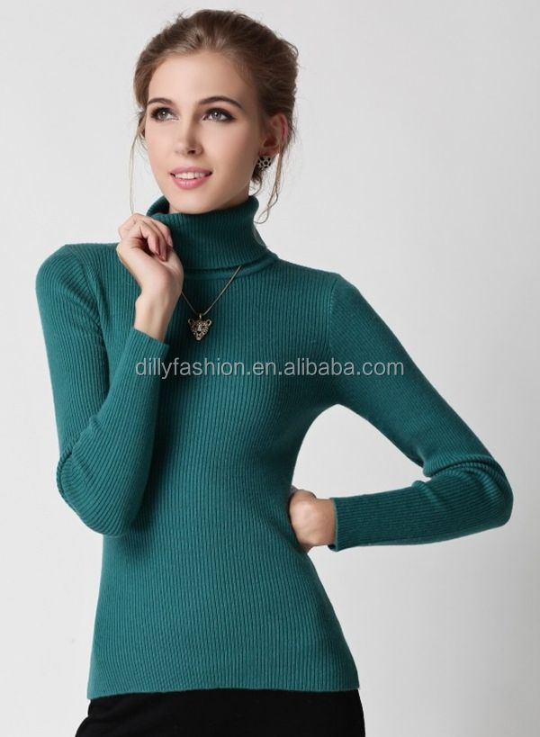 Classical Design Wool Women's Ribbed Turtleneck Sweater Tight ...