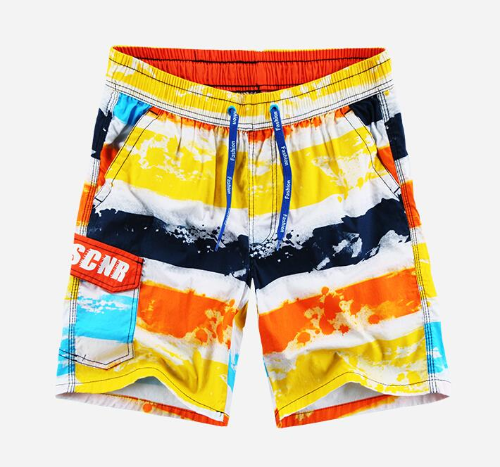 Fesh Color 1 Piece Mens Striped Design Board Shorts Cotton Tie Rope Demarkt Mens Bathing Suits