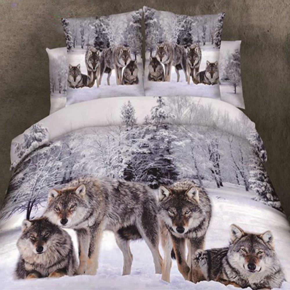 Alicemall 4 Piece Wolf 3D Bedding Set Twin XL Snow Wolf in the Woods Print 3D Animal Bedding Sets 100% Cotton Duvet Cover Sets, Twin/XL Twin /Full/Queen, No Comforter (Twin XL-10921292)