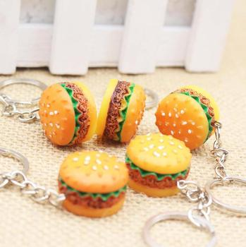 Wholesale Fashion Epoxy Creative Key Chain Cute Resin Personalized Hamburger Simulation Keychain For Promotion Gift
