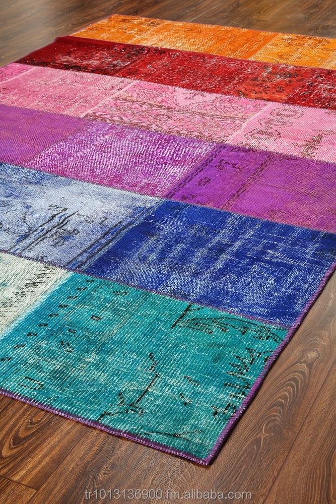 t rkische berf rbt jahrgang patchwork teppiche regenbogen teppich flickenteppich ber gef rbt. Black Bedroom Furniture Sets. Home Design Ideas