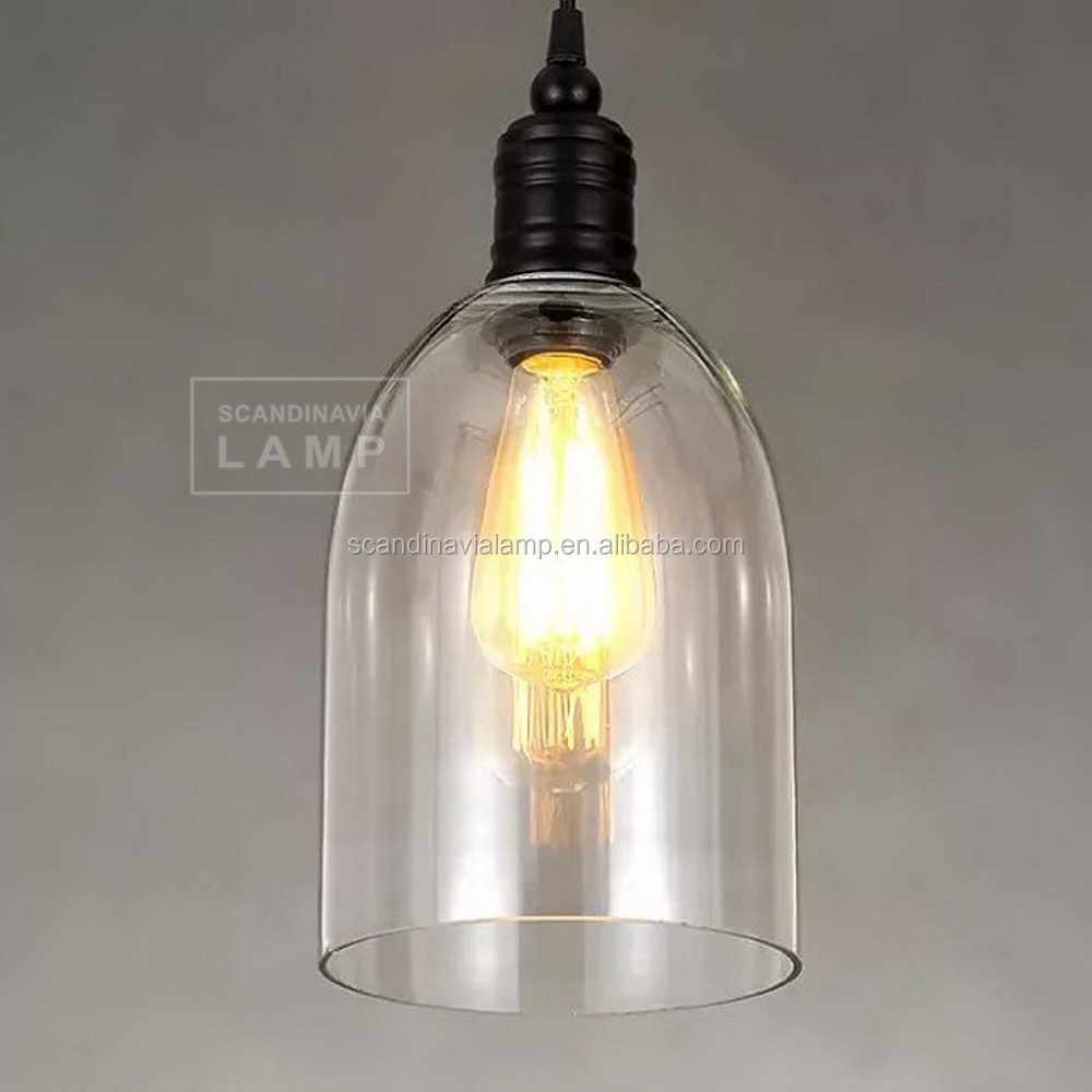 Factory Wrought Hand Blown Pendant Light Glass Cloche Ceiling ...