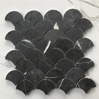Indoor kitchen bathroom decorative Fan Shaped Black and White Marble Mosaic