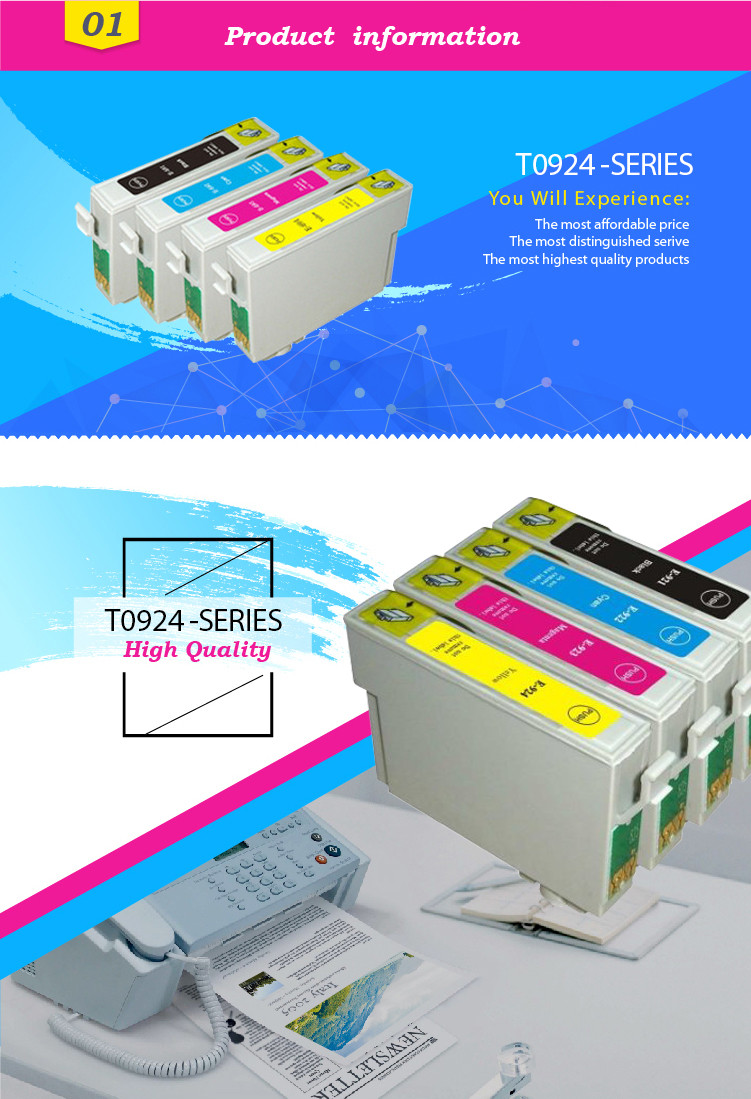 GS Ink cartridge compatible for epson T0921 T0922 T0923 T0924
