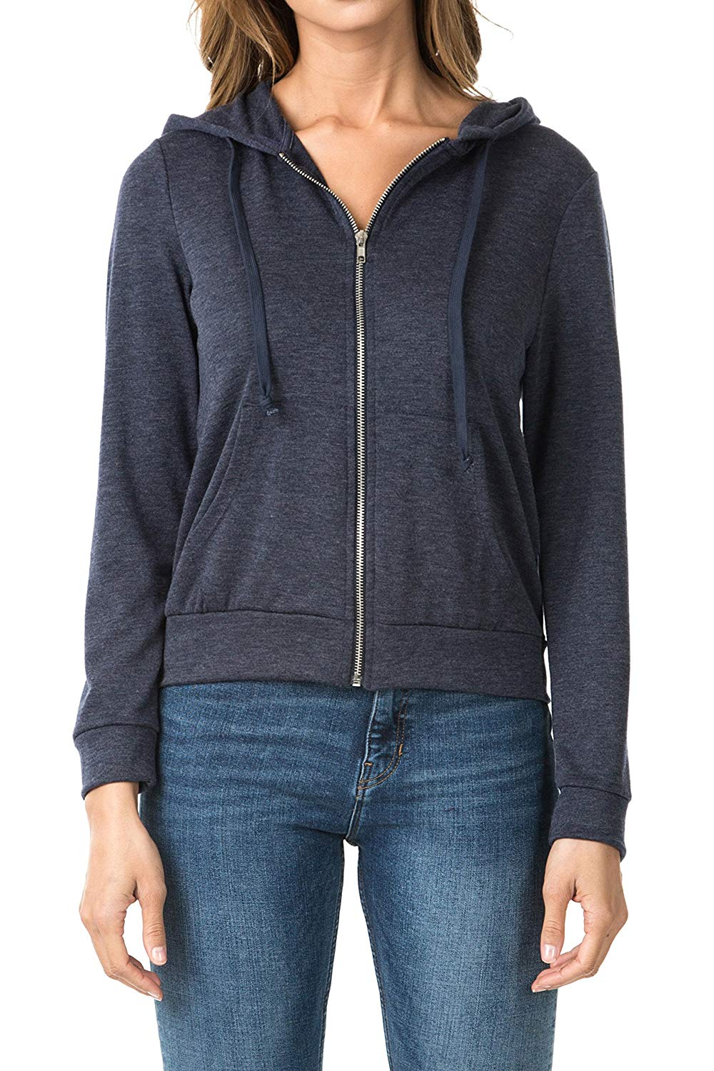 b8078dc6a Get Quotations · WeSeeFashion WSF Women's Zip Up French Terry Extra  Lightweight Hoodie Sweater Jacket with Pocket