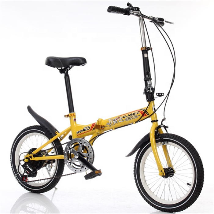 Factory customized yellow color 6 speeds folding bike with <strong>V</strong> brake