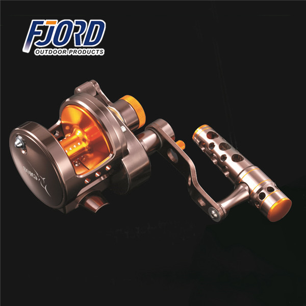 FJORD CNC aluminum fram and spoon 2-speed lever drag system 4.5:1/2.2:1 9BB jigging fishing reel with ergonomics shaped handle