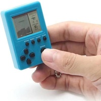 Gift mini handheld brick game 9999 in 1 tetris game with keychain