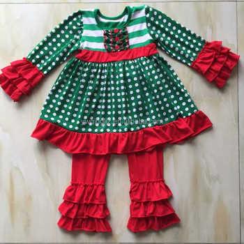 2016 green polka dot sash dress and red pants christmas boutique outfits bulk wholesale kids clothing