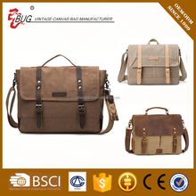 OEM customized laptop mens canvas shoulder messenger bag with leather trim
