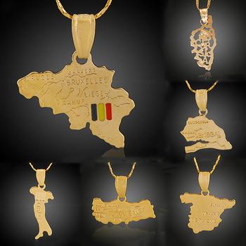 Verschiedene Designs Und Formen 18 Karat Vergoldet Schmuck Weltkarte Anhänger Halskette Buy Welt Karte Halskette,Karte Anhänger Halskette,18k Gold