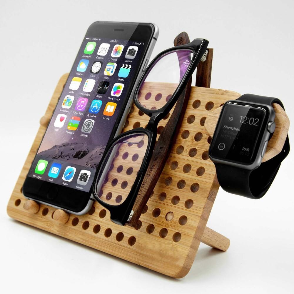 Bamboo DIY Laptop Storage Rack / Tablet Phone Charging Station /holder