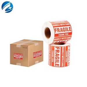 Permanent Roll Adhesive Custom Warning Sign Sticker Handle With Care Fragile Box Packing Shipping Labels
