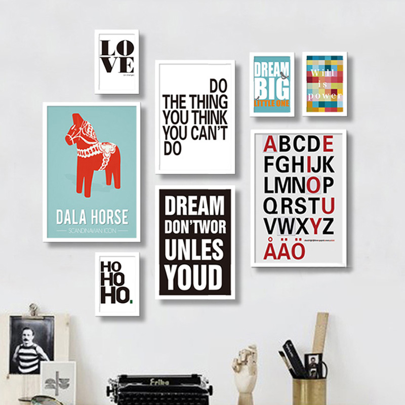 Modern Quotes Inspiring Canvas Paintings Nursery Wall Art Pop Posters Prints Nordic Picture Kids Living Room