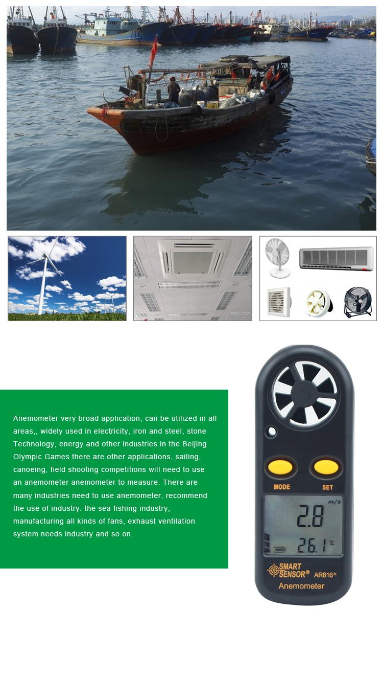 Smart Sensor Ar816+ Portable Precision Mini Wind Speed Meter Air ...