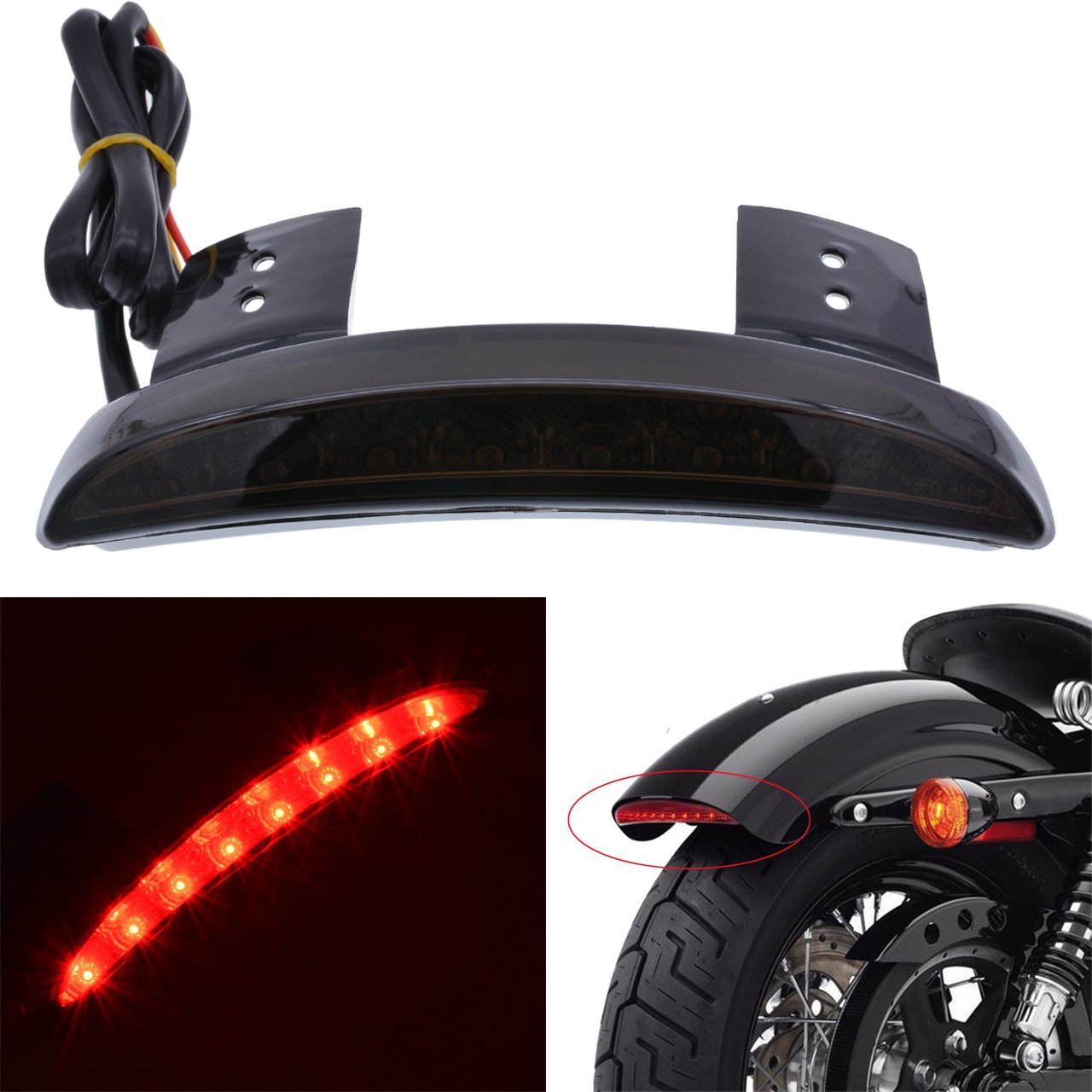 Get Quotations · KaTur Smoke Chopped Fender Edge Motorcycle 8 LED RED Stop  Running Brake Rear Tail Light for