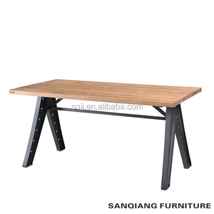 dining room furniture modern simple dining table iron leg solid wood dining table made in China