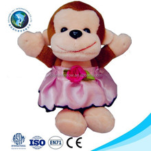 Custom new mini girl monkey with dress soft plush monkey keychain cute small stuffed soft plush monkey toy