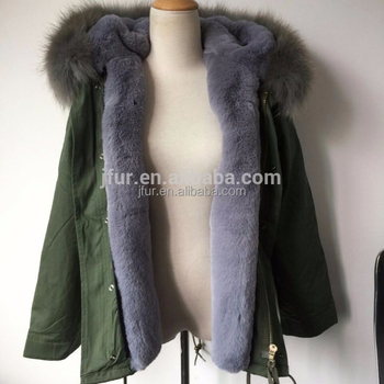 Women s fur lined parka jacket with real raccoon fur collar Olive green  jacket with grey fur 3ec6a30ff9