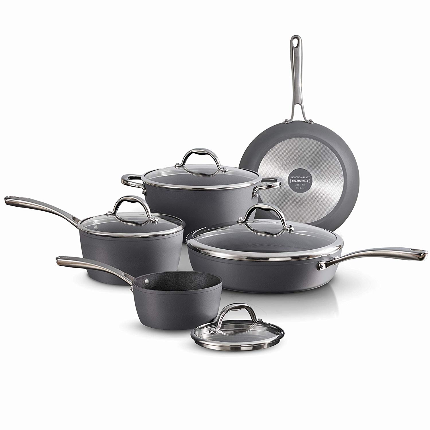 Tramontina 80110/225DS Gourmet Induction Aluminum Nonstick Made in Italy, Slate Gray 9-Piece Cookware Set