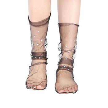 a167010baf2 Women Sheer Ankle Calf Socks Fashion Glitter Star Sock Unique Transparent  Elastic Short Stocking