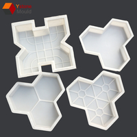 Star design Rubber cement tile molds interlocking pavers moulds