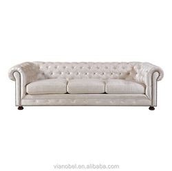 Meridian Furniture Bowery Sofa Cream Velvet Rolled Flared Arm Living Room Furniture