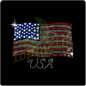 Happy USA independence day rhinestone t-shirt transfer,4th of July flag hotfix motif