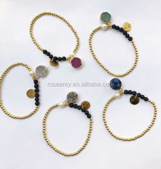 Multi-Color Gemstone Tiny 3mm Stainless Steel Ball engraved Disc Elastic Cord Natural Stone Elastic bracelet