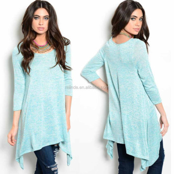 oversized t-shirt Sweatshirt 3/4 Sleeve Tunic Top Trapeze Shark Bite Hem oversized shirt