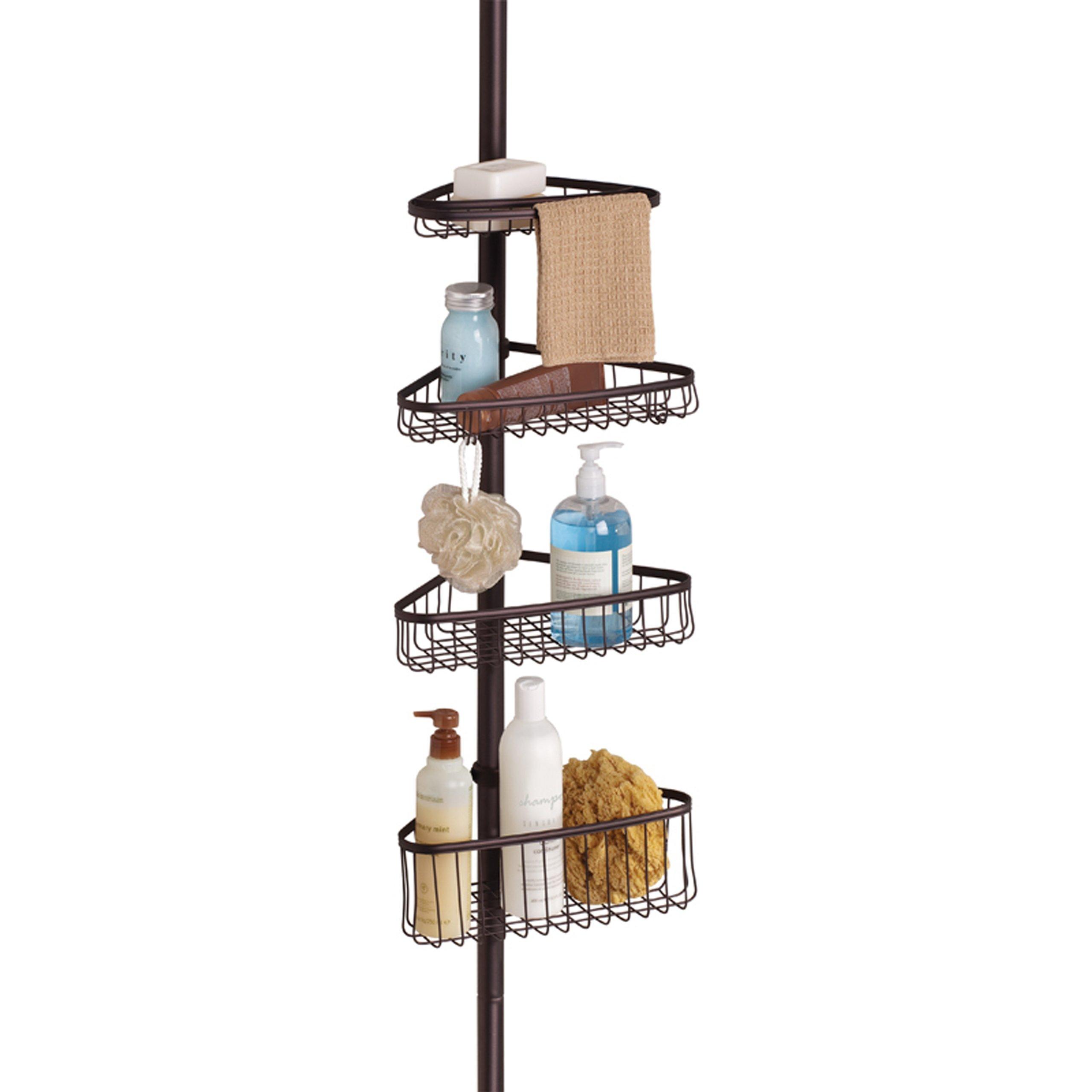 InterDesign York Constant Tension Corner Shower Caddy – Bathroom Storage Shelves for Shampoo, Conditioner, Soap and Razors, Bronze