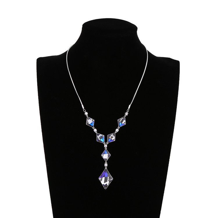 Jewelry wholesale women colorful crystal glass stone pendant necklace rhodium plated zinc alloy wedding necklace