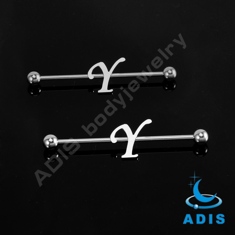 Surgical steel wholesale letter design letter fake magnetic industrial piercing