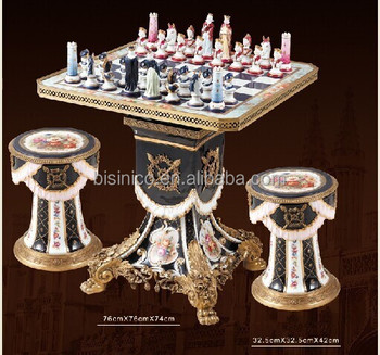 Noble Painted Porcelain Bronze Chess Game Table,European Design ...