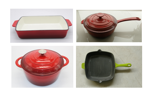 4 CAST IRON ENAMELED COOKWARE ITEMS IN USA/EU/CANADA